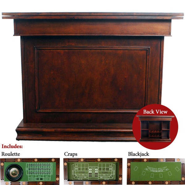 AFD Home Dark Antique Game Table Bar 10937884