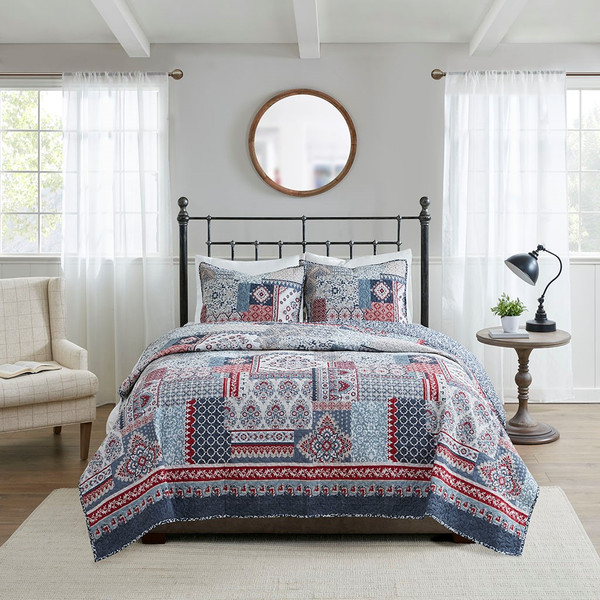 Hailey 3 Piece Cotton Quilted Reversible Coverlet Set Full/Queen By Madison Park MP13-7081