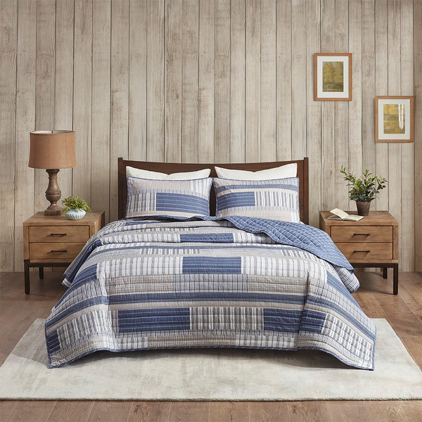 Hewitt 3 Piece Cotton Reversible Coverlet Set King/Cal King By Madison Park MP13-7139