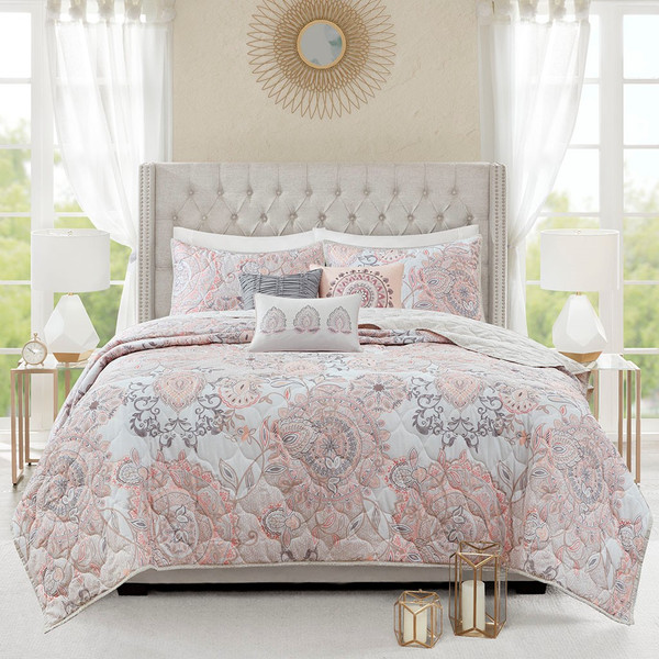 Isla 6 Piece Cotton Printed Reversible Coverlet Set Full/Queen By Madison Park MP13-6883