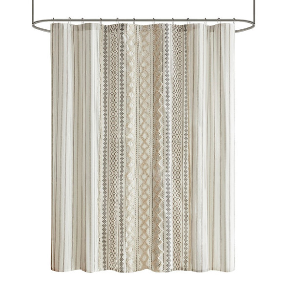 Imani Cotton Printed Shower Curtain With Chenille Stripe By Ink+Ivy II70-1121