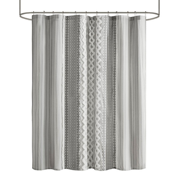 Imani Cotton Printed Shower Curtain With Chenille Stripe By Ink+Ivy II70-1123