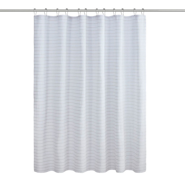 Alder Texture Striped 100% Recycled Fiber Antimicrobial Woven Shower Curtain By Living Clean LCN70-0091