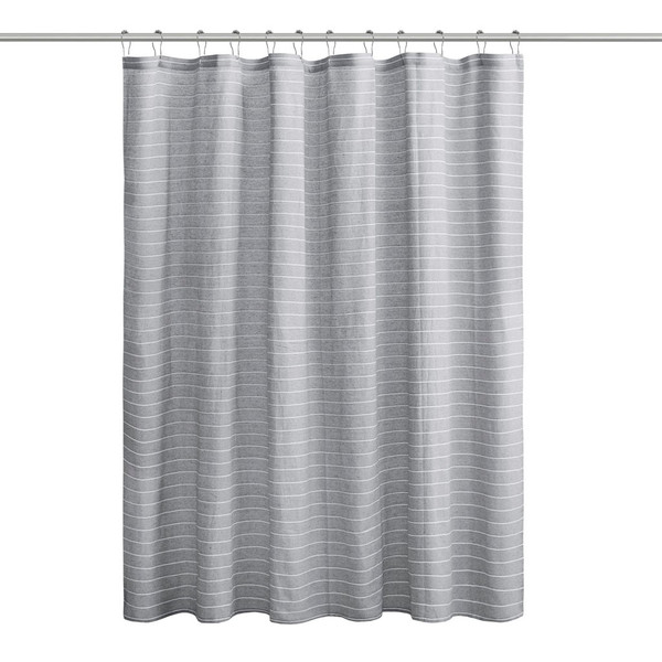 Alder Texture Striped 100% Recycled Fiber Antimicrobial Woven Shower Curtain By Living Clean LCN70-0092