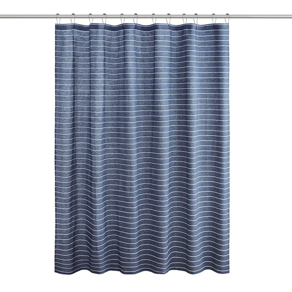 Alder Texture Striped 100% Recycled Fiber Antimicrobial Woven Shower Curtain By Living Clean LCN70-0093