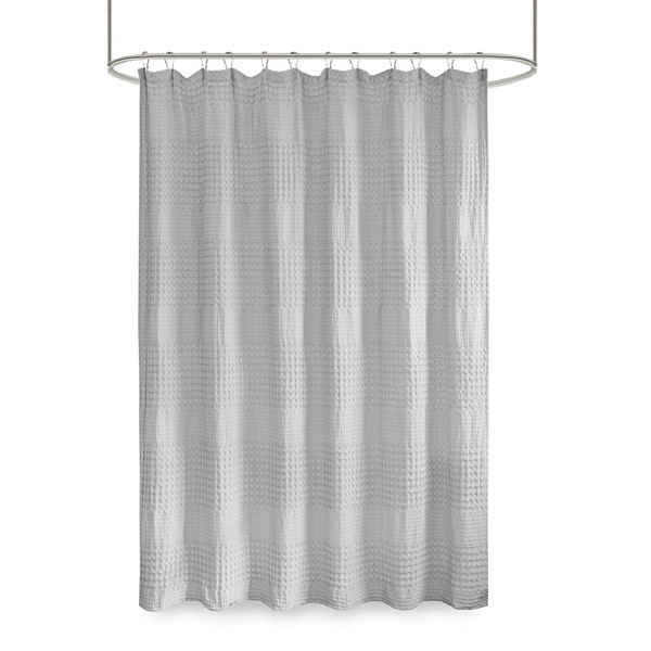 Arlo Super Waffle Textured Solid Shower Curtain By Madison Park MP70-6823A