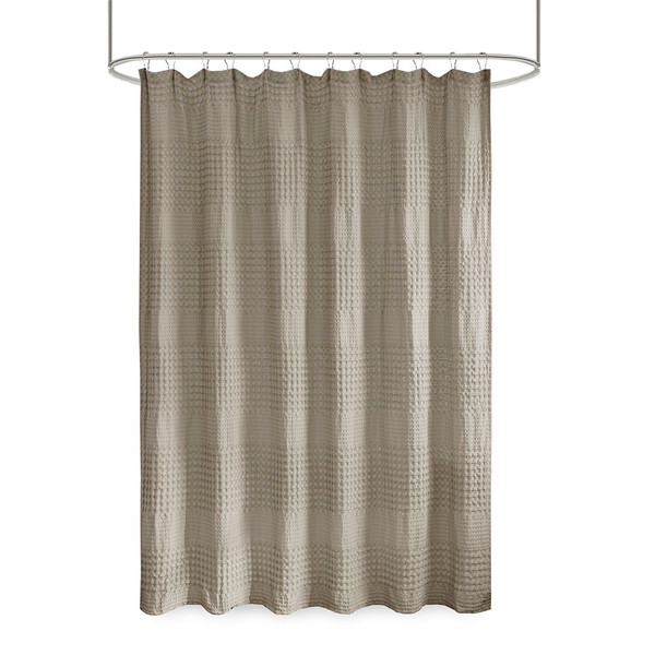 Arlo Super Waffle Textured Solid Shower Curtain By Madison Park MP70-6825A