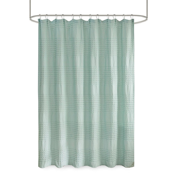 Arlo Super Waffle Textured Solid Shower Curtain By Madison Park MP70-6826A