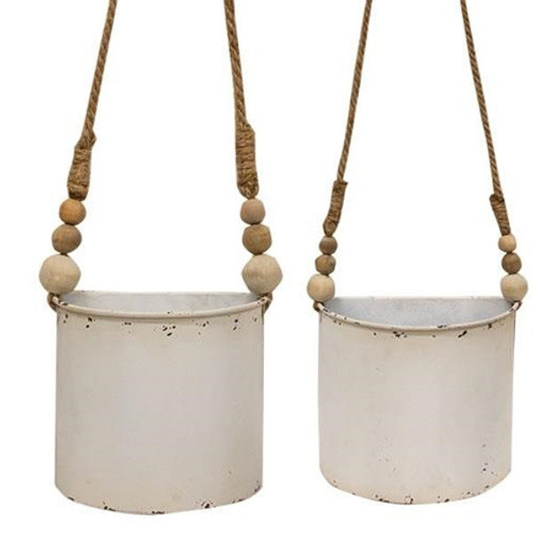 2/Set Shabby Chic Half Round Planters With Jute Hangers G20DN034 By CWI Gifts