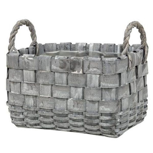 2/Set Rectangle Graywashed Planter Baskets GBB9A770 By CWI Gifts
