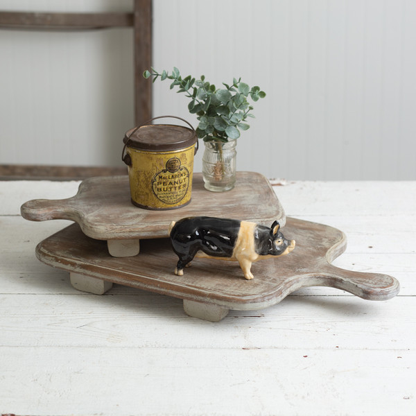 CTW Home Set Of Two Wood Cutting Board Risers 370401