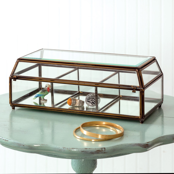 CTW Home Divided Antique Mirrored Trinket Box 370414