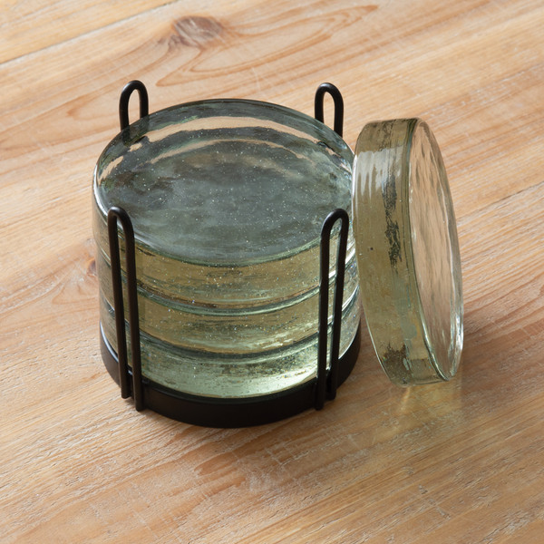 CTW Home Blocked Glass Coasters Caddy 370514