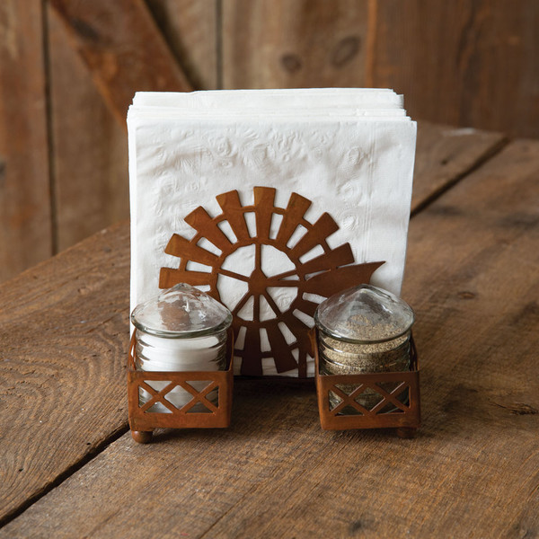 CTW Home Windmill & Silo Salt Pepper And Napkin Caddy 370525