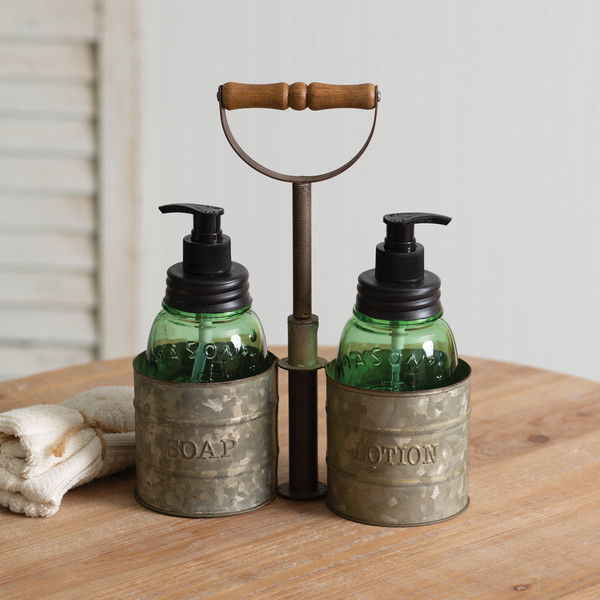 CTW Home Galvanized Soap And Lotion Dispenser Caddy With Wood Handle 860404