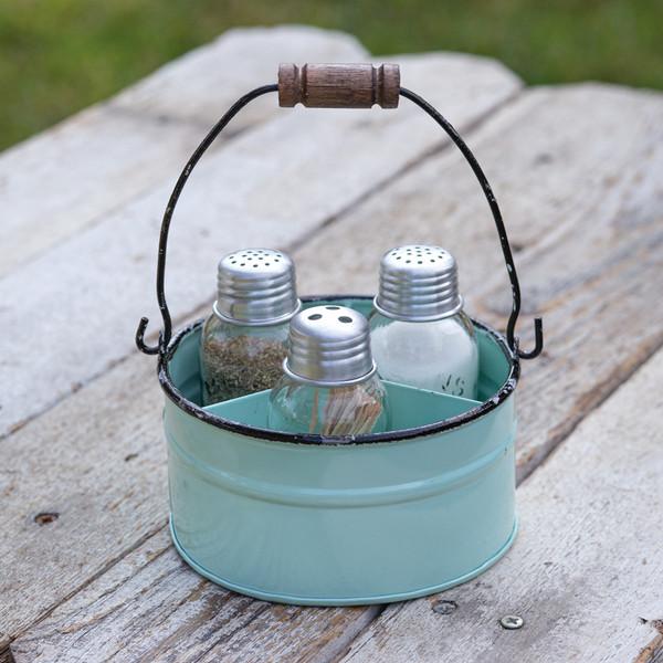 CTW Home Round Bucket Salt Pepper And Toothpick Caddy - Seafoam 860409
