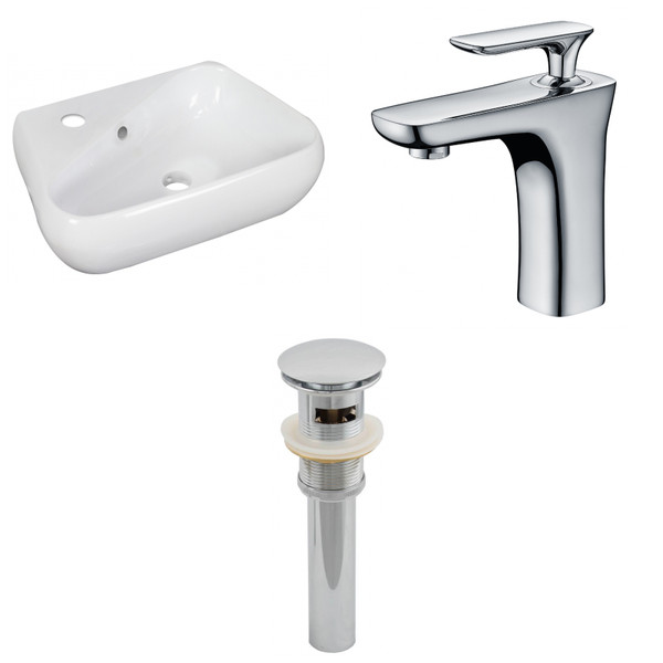 """17.5"""" W Above Counter White Vessel Set For 1 Hole Left Faucet AI-26286"""