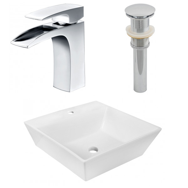 """16.5"""" W Above Counter White Vessel Set For 1 Hole Center Faucet AI-26387"""