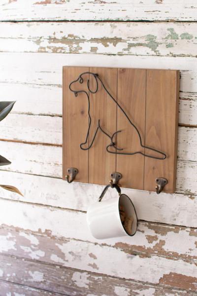 Wood And Metal Pet Wall Hooks - Dog CHW1183 By Kalalou