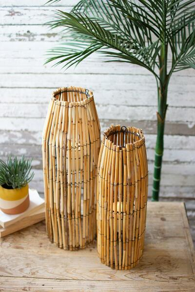 Set Of Two Tall Cane Lanterns With Glass Inserts CJAL1014 By Kalalou