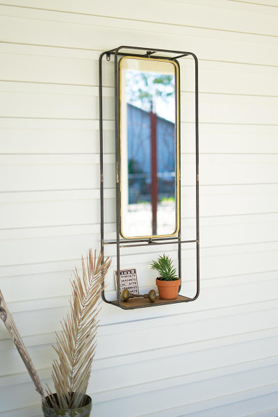 Antique Brass Mirror With Shelf CLL2522 By Kalalou