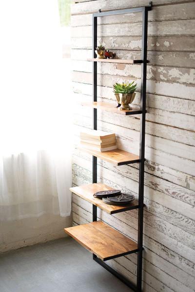 Iron And Wood Wall Display With Five Mango Wood Shelves NJH2066 By Kalalou