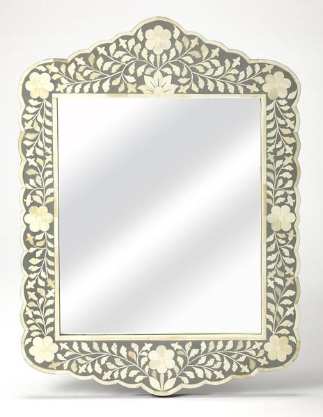 """Butler Vivienne Gray Bone Inlay Wall Mirror 3451321 """"Special"""""""