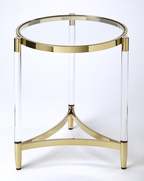 Butler Charlene Acrylic & Gold Round End Table 5409335