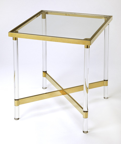 Butler Charleise Acrylic & Gold Square End Table 5410335
