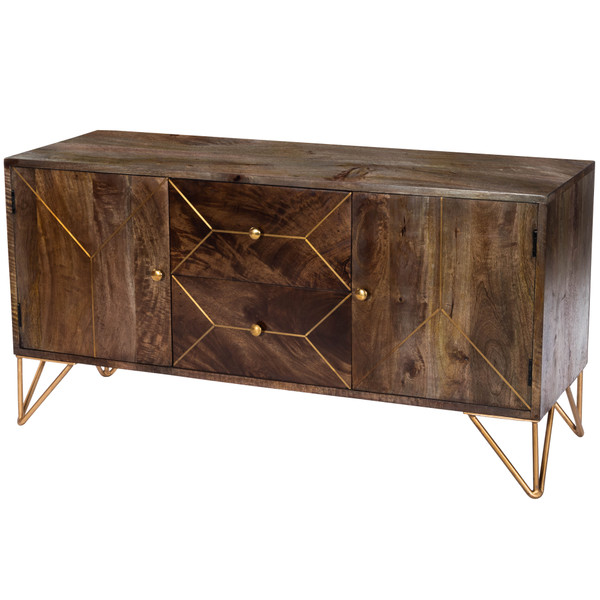"""Butler Alda Wood & Brass Metal Inlay Entertainment Console 5478140 """"Special"""""""