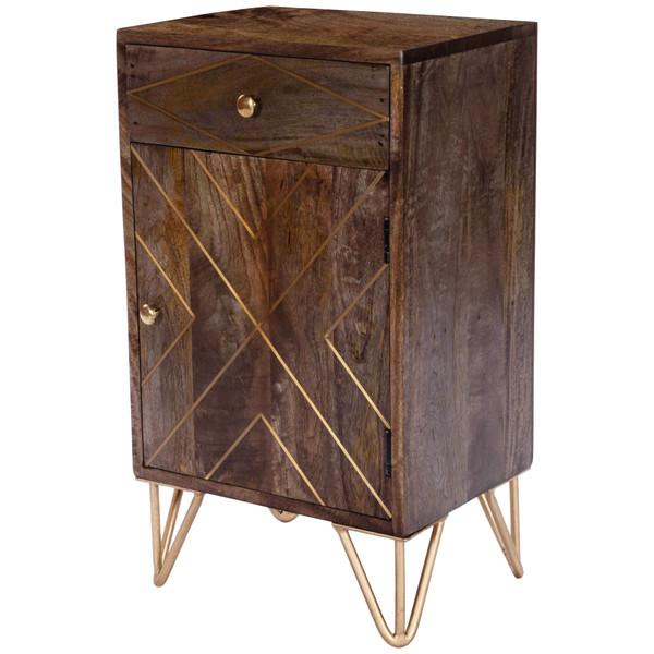 "Butler Alda Wood & Brass Metal Inlay Chairside Chest 5481140 ""Special"""
