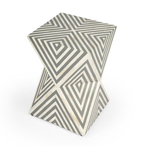 """Butler Anais White and Grey Bone Inlay End Table 5510321 """"Special"""""""