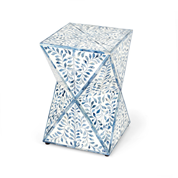 """Butler Anais White and Blue Bone Inlay End Table 5510417 """"Special"""""""