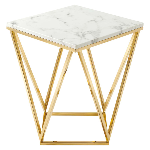 Modway Vertex Gold Metal Stainless Steel End Table EEI-4206-GLD-WHI