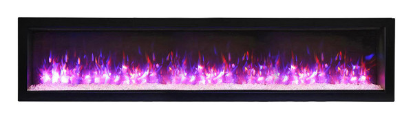 """WM-74-B 74"""" Basic Clean-Face Electric Built-In With Glass, Black Steel Surround"""