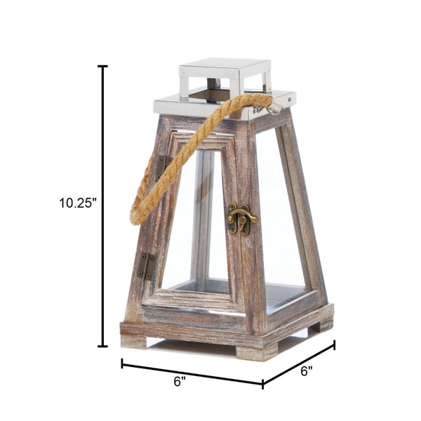 Small Pyramid Wooden Lantern With Rope 10018176 By Zingz & Thingz