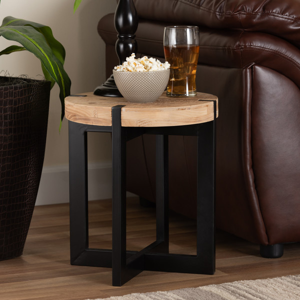 Horace Rustic And Industrial Natural Brown Finished Wood And Black Finished Metal End Table By Baxton Studio JY17B4012-Brown/Black-ET