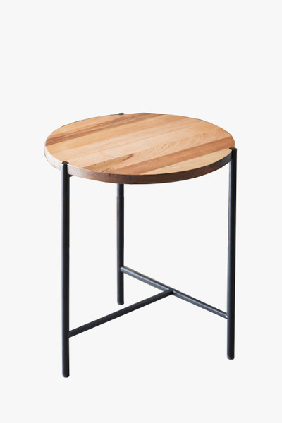 """Ore International D8110 18"""" In Round Wood Mid Century Low End Table W/ Metal Legs"""