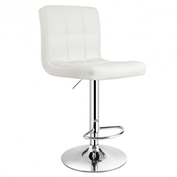HW66492WH-1 1 Pc Bar Stool Swivel Adjustable Pu Leather Barstools Bistro Pub Chair-White