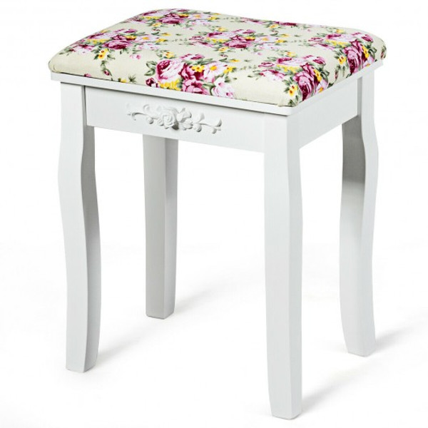 HW66054WH Vanity Wood Dressing Stool Padded Piano Seat With Rose Cushion