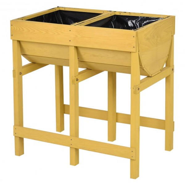 GT3538 Raised Wooden Planter Vegetable Flower Bed With Liner