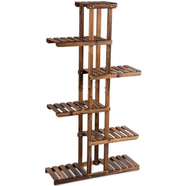 GT3560 6 Tier Garden Wooden Shelf Storage Plant Rack Stand