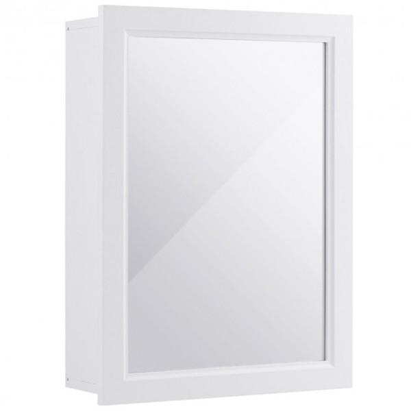 HW59317WH Wall Mounted Adjustable Medicine Storage Mirror Cabinet