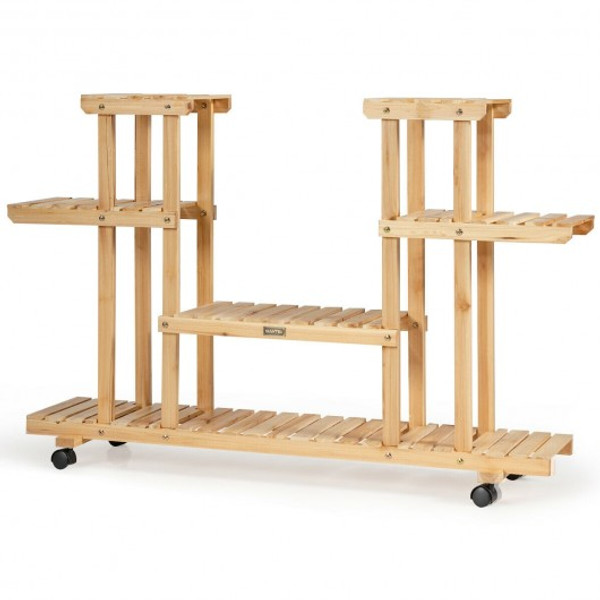 GT3561NA 4-Tier Wood Casters Rolling Shelf Plant Stand-Natural