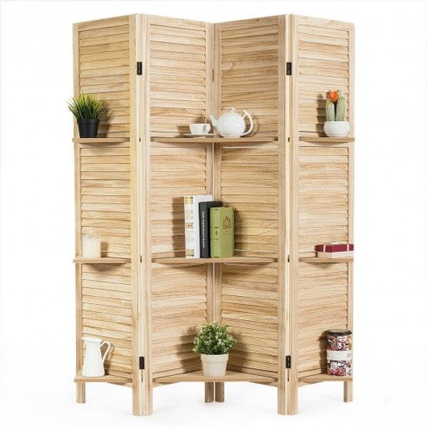HW66031BN 4 Panel Folding Room Divider Screen With 3 Display Shelves-Brown