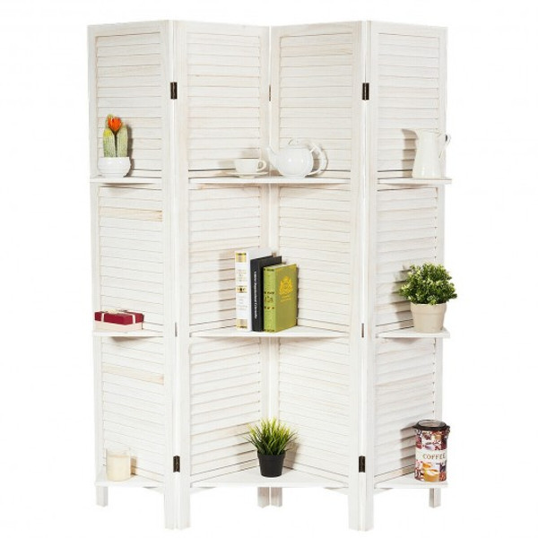 HW66031WH 4 Panel Folding Room Divider Screen With 3 Display Shelves-White