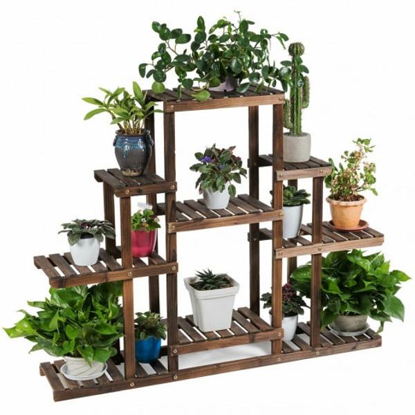 GT3574 6-Tier Flower Wood Stand Plant Display Rack Storage Shelf