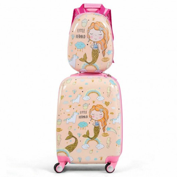 BG51210 2Pc Kids Luggage Set Rolling Suitcase & Backpack-Pink