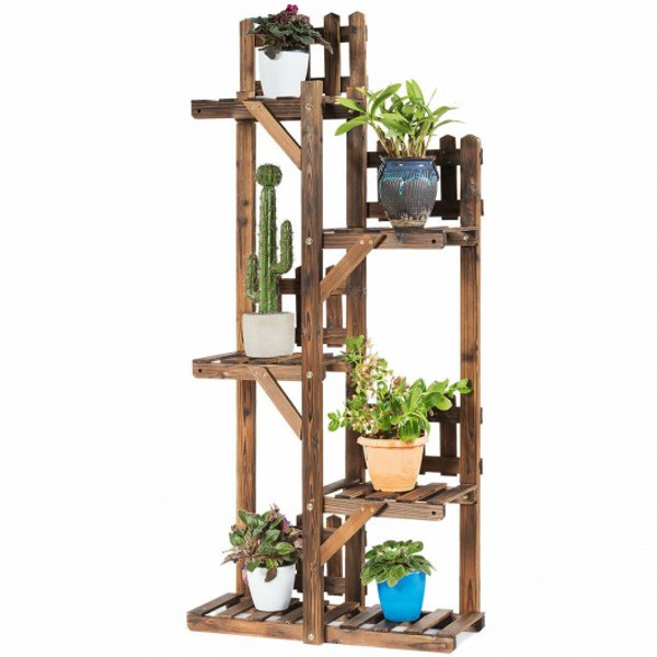 GT3565 5-Tier Flower Rack Wood Plant Stand 6 Pots Display Shelf