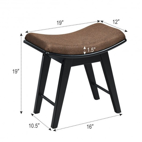 HW66055BK Modern Dressing Makeup Stool With Concave Seat Rubberwood Legs-Black